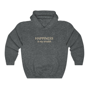 JTEESinc Happiness HipHop style hoodie in heather grey with gold print. Classic adults fit crew neck and soft fleece lining