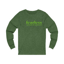 Load image into Gallery viewer, JTEESinc green unisex cotton long sleeve t-shirt with neon print inspirational slogan fearless pursuit of soul food
