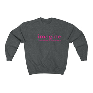 JTEESinc unisex deep heather cotton-mix sweat-shirt features the IMAGINE countless possibilities inspirational affirmation print