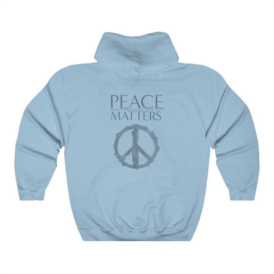 JTEESinc Unisex Premium light blue Statement Hoodie features the Peace Symbol and Peace Matters slogan in mixed font print
