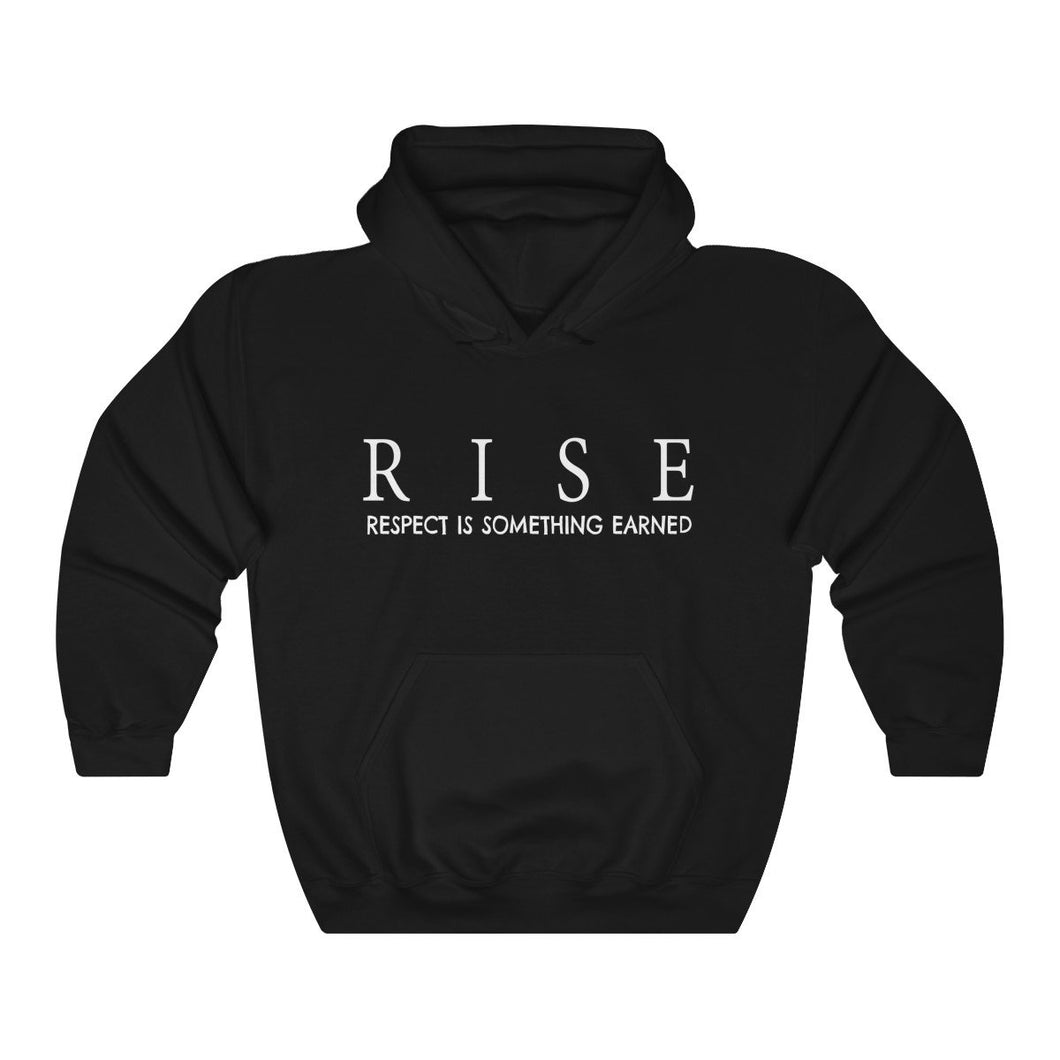 JTEESinc Unisex Premium Black Statement Hoodie features the inspirational slogan, RISE - Respect is Something Earned