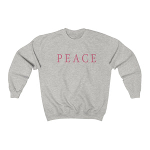 athletic grey super soft unisex crew neck sweatshirt with peace statement slogan print in pantone fruit dove