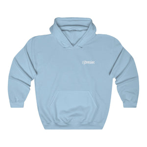 JTEESinc HipHop style light blue hoodie with Icy wristwatch slogan reverse print in white. crew neck and kangaroo pockets