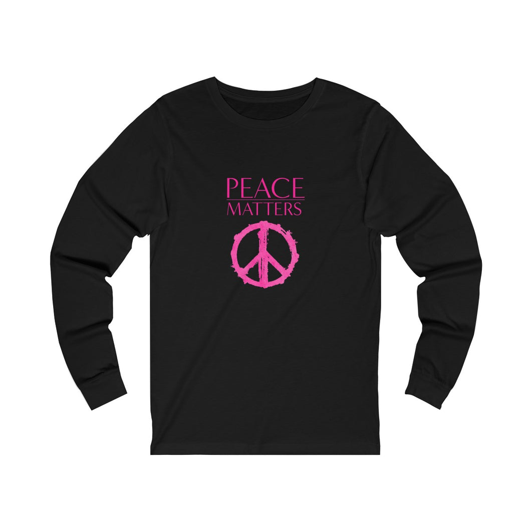 JTEESinc black unisex cotton crew neck long sleeve t-shirt with neon peace sign graphic and peace matters slogan