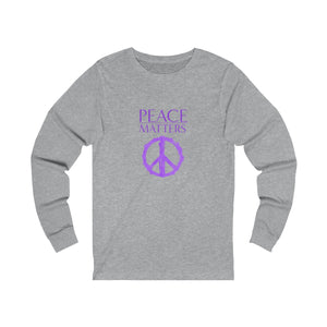 JTEESinc grey unisex cotton crew neck long sleeve t-shirt with neon peace sign graphic and peace matters slogan
