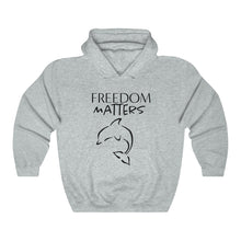 Load image into Gallery viewer, JTEESinc Freedom Matters light grey hoodie with Orca Dolphin graphic black print. Classic adults fit crew neck and soft fleece lining