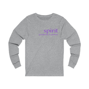 JTEESinc grey unisex cotton long sleeve t-shirt with neon print inspirational slogan spirit positivity is power