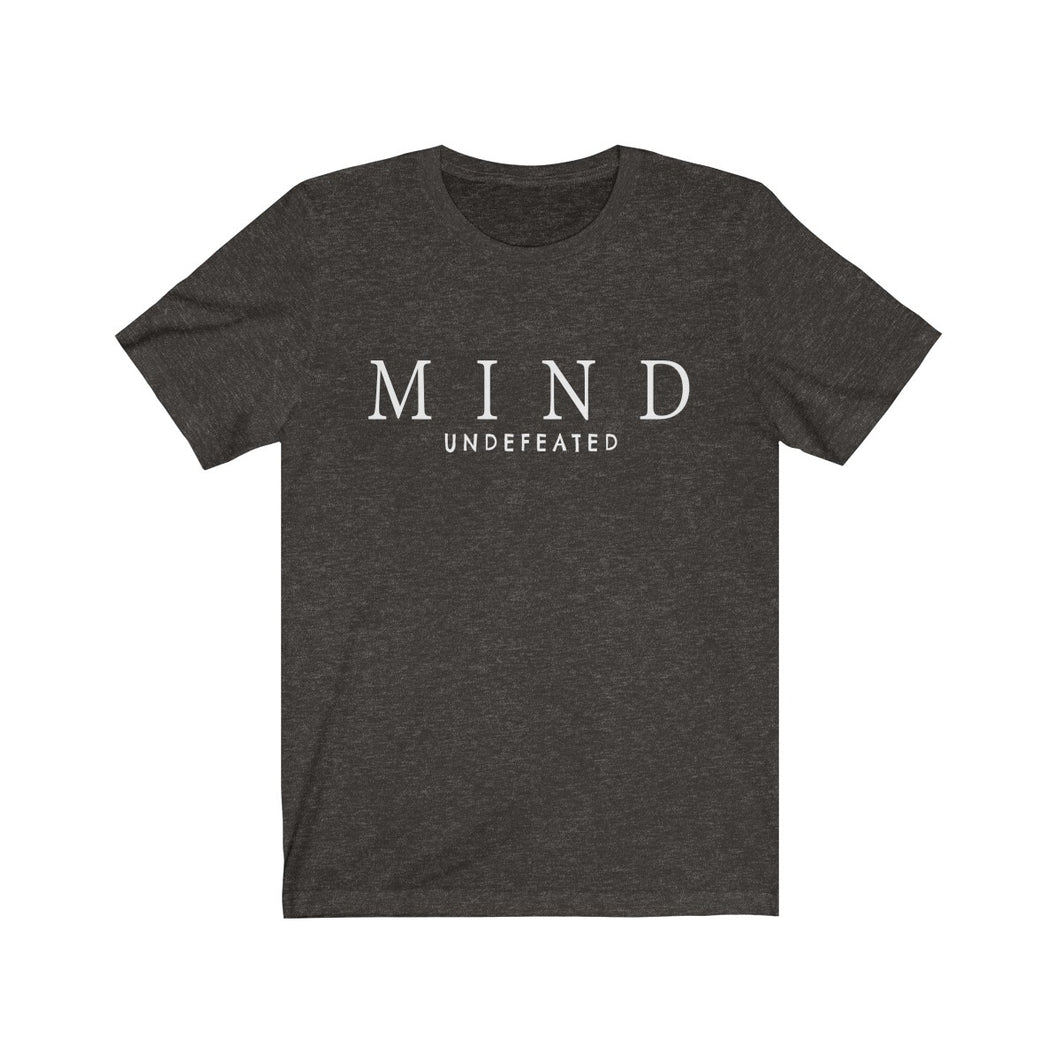 JTEESinc Black unisex cotton crew neck t-shirt with white print design featuring the slogan mind undefeated