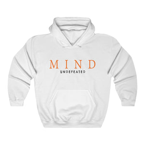 JTEESinc HipHop style white hoodie with Mind Undefeated slogan print in pantone orange tiger and black.