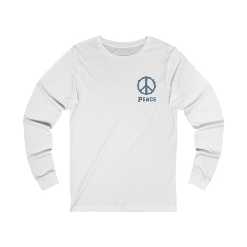 unisex jersey Triblend long sleeve t-shirt in white features pocket size peace sign and peace slogan design in grey