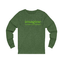 Load image into Gallery viewer, JTEESinc green unisex cotton long sleeve t-shirt with neon print inspirational slogan imagine countless possibilities