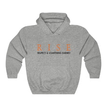 Load image into Gallery viewer, JTEESinc Unisex Premium Sports Grey Statement Hoodie features the inspirational slogan, RISE - Respect is Something Earned