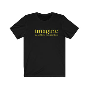 JTEESinc black unisex cotton t-shirt with neon yellow print inspirational slogan imagine countless possibilities