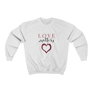 white super soft unisex crew neck sweatshirt with heart design and love matters slogan print