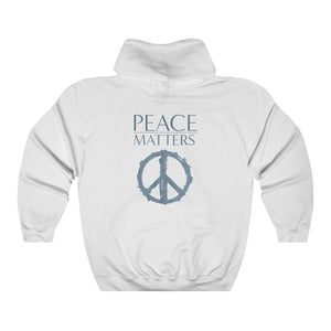 JTEESinc Unisex Premium white Statement Hoodie features the Peace Symbol and Peace Matters slogan in mixed font print