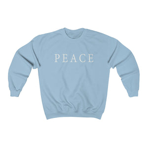 light blue super soft unisex crew neck sweatshirt with peace statement slogan print