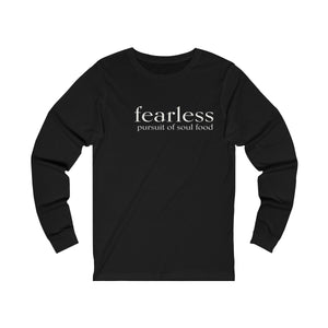 JTEESinc black unisex cotton long sleeve t-shirt with white print inspirational slogan fearless pursuit of soul food