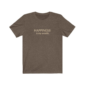JTEESinc heather brown unisex cotton crew neck t-shirt with gold print design featuring the slogan Happiness is my wealth