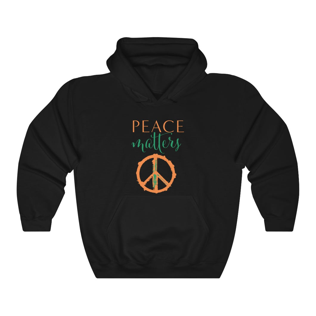 JTEESinc HipHop style black hoodie with love matters heart graphic and slogan print in Irish flag colors. Crew neck and pockets