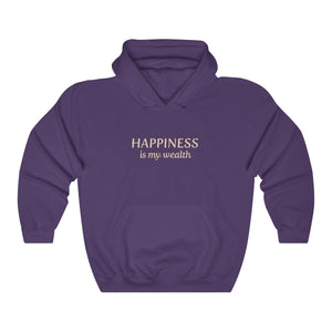 JTEESinc Happiness HipHop style hoodie in purple with gold print. Classic adults fit crew neck and soft fleece lining