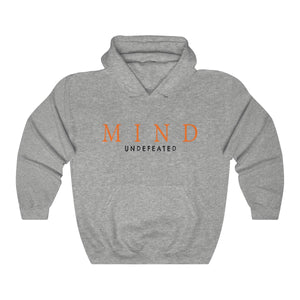 JTEESinc HipHop style heather grey hoodie with Mind Undefeated slogan print in pantone orange tiger and black.