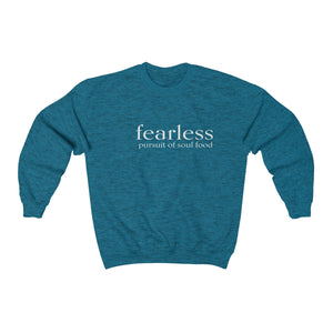 JTEESinc unisex sapphire blue cotton-mix sweat-shirt features the FEARLESS pursuit of soul food inspirational affirmation print