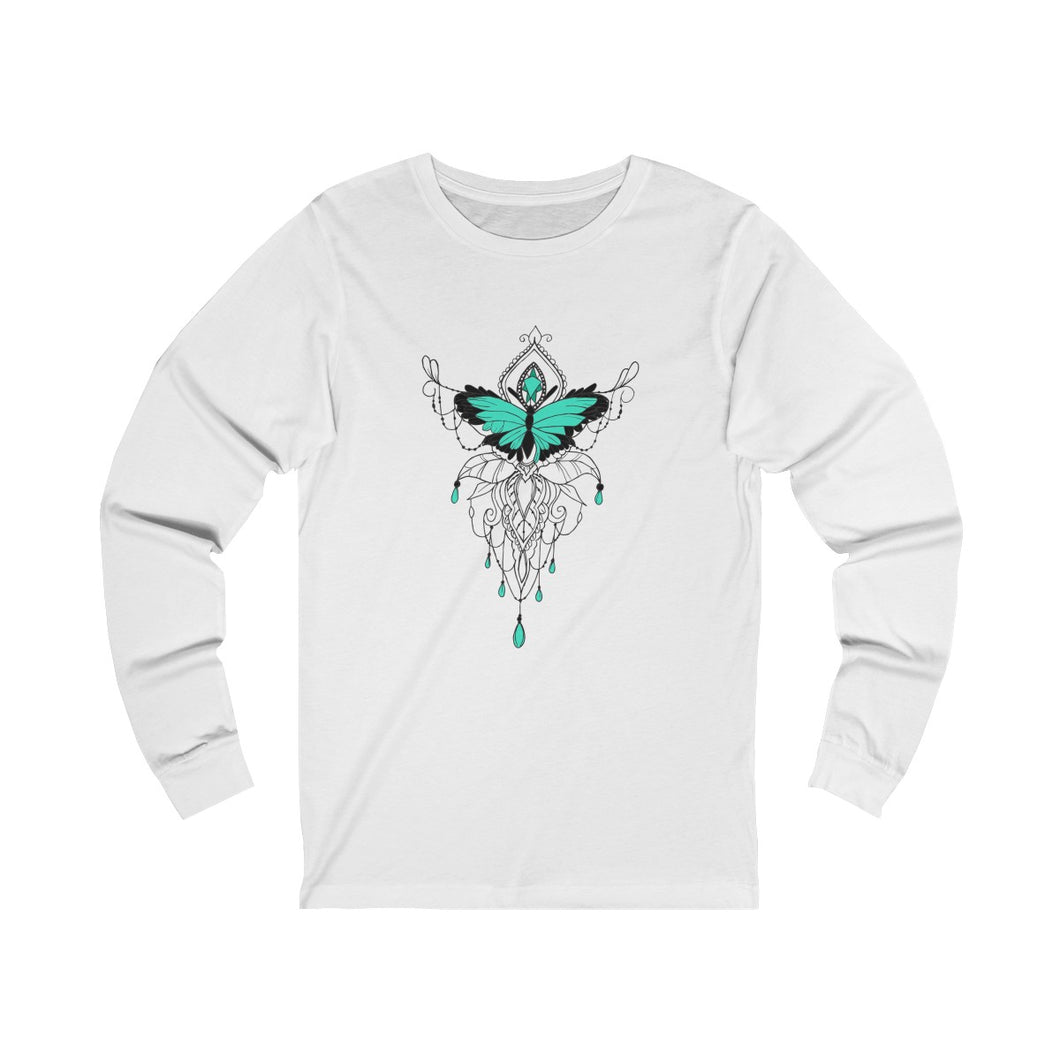 White unisex cotton crew neck long sleeve t-shirt featuring emerald green and black butterfly and embellished jewel design