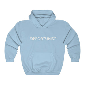 JTEESinc HipHop style light blue hoodie with OPPORTUNIST slogan print in white. Classic fit crew neck and kangaroo pockets