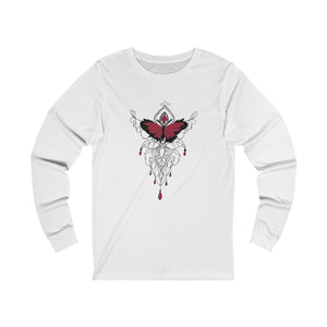 white unisex jersey triblend Long Sleeve T Shirt featuring red and black butterfly with embellished jewel design