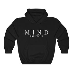 JTEESinc HipHop style black hoodie with Mind Undefeated slogan print in white. Classic fit crew neck and kangaroo pockets