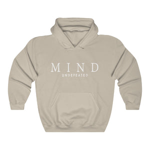 JTEESinc HipHop style sand hoodie with Mind Undefeated slogan print in white. Classic fit crew neck and kangaroo pockets