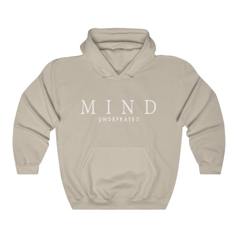 unisex tan cotton-mix premium pullover hoodie featuring the JTEESinc MIND undefeated statement in bright white print