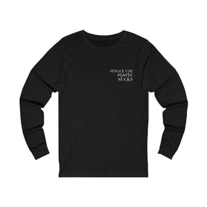 unisex jersey Triblend long sleeve t-shirt in black features pocket size single use plastic sucks slogan design in white