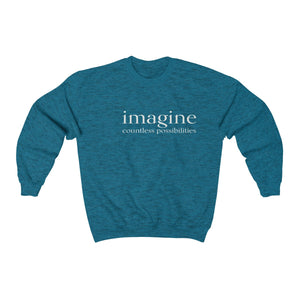 JTEESinc unisex sapphire blue cotton-mix sweat-shirt features the IMAGINE countless possibilities inspirational affirmation print