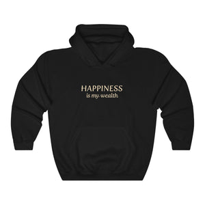 JTEESinc Happiness HipHop style hoodie in black with gold print. Classic adults fit crew neck and soft fleece lining