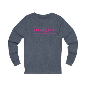 JTEESinc heather blue unisex cotton long sleeve t-shirt with neon print inspirational slogan imagine countless possibilities