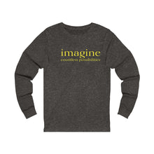 Load image into Gallery viewer, JTEESinc grey unisex cotton long sleeve t-shirt with neon print inspirational slogan imagine countless possibilities