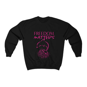 JTEESinc black crew neck freedom matters sweatshirt with orca dolphin design in neon pink