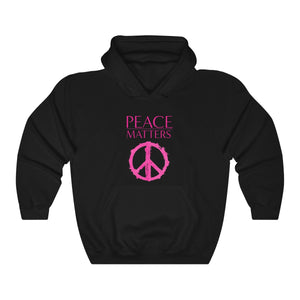JTEESinc HipHop style black hoodie with peace symbol graphic and slogan print in neon pink. Crew neck and kangaroo pockets