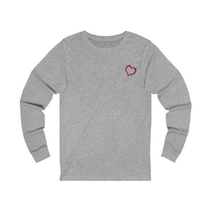 heather grey unisex jersey triblend Long Sleeve T Shirt from the Pocket Prints collection features JTEESinc Tiny heart design