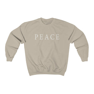 super soft unisex crew neck sweatshirt in sand brown with peace statement slogan print