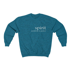 JTEESinc unisex sapphire blue cotton-mix sweat-shirt features the SPIRIT positivity is power inspirational affirmation print