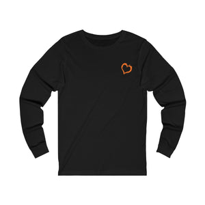 black unisex jersey triblend Long Sleeve T Shirt from the Pocket Prints collection features JTEESinc Tiny heart design