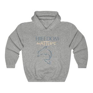 JTEESinc Freedom Matters dark heather grey hoodie with Orca Dolphin graphic blue print. Classic adults fit crew neck and soft fleece lining
