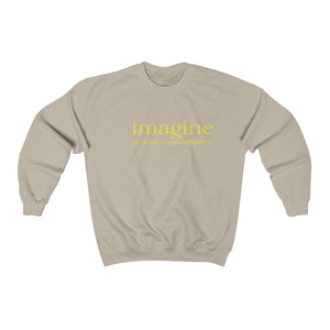 JTEESinc unisex tan cotton-mix sweat-shirt features the IMAGINE countless possibilities inspirational affirmation print