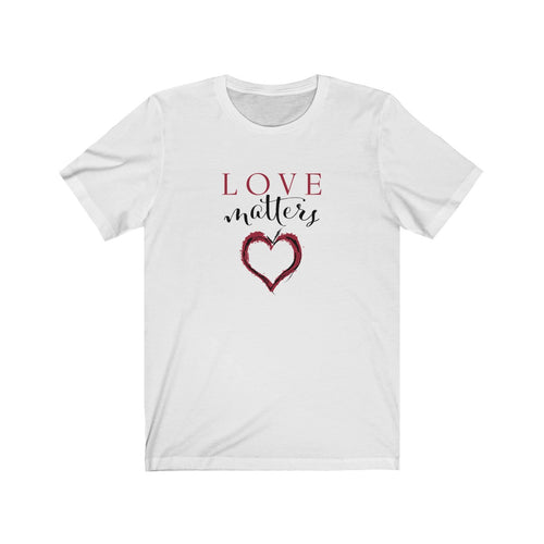 JTEESinc white unisex cotton crew neck t-shirt with red and black print heart graphic and love matters slogan