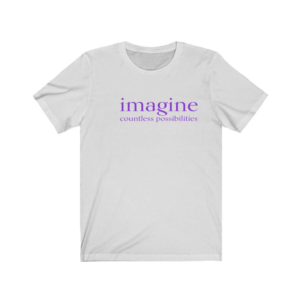 JTEESinc white unisex cotton t-shirt with purple print inspirational slogan imagine countless possibilities
