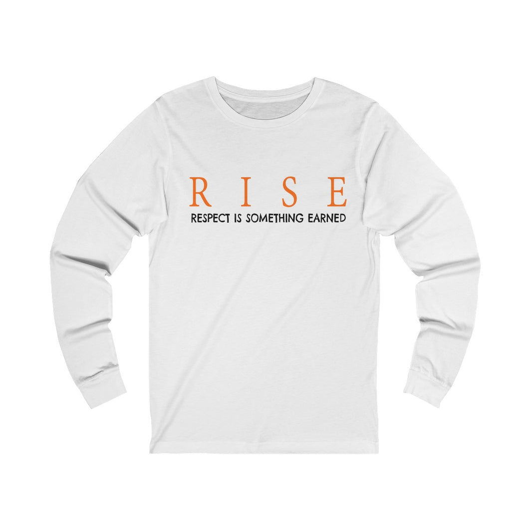 white unisex jersey triblend Long Sleeve T Shirt featuring RISE respect is something earned slogan print