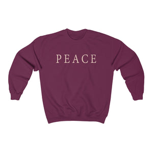 university maroon color super soft unisex crew neck sweatshirt with peace statement slogan print