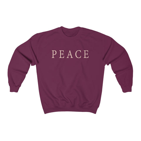 unisex maroon cotton-mix sweatshirt featuring the JTEESinc PEACE statement design in vanilla custard cream print